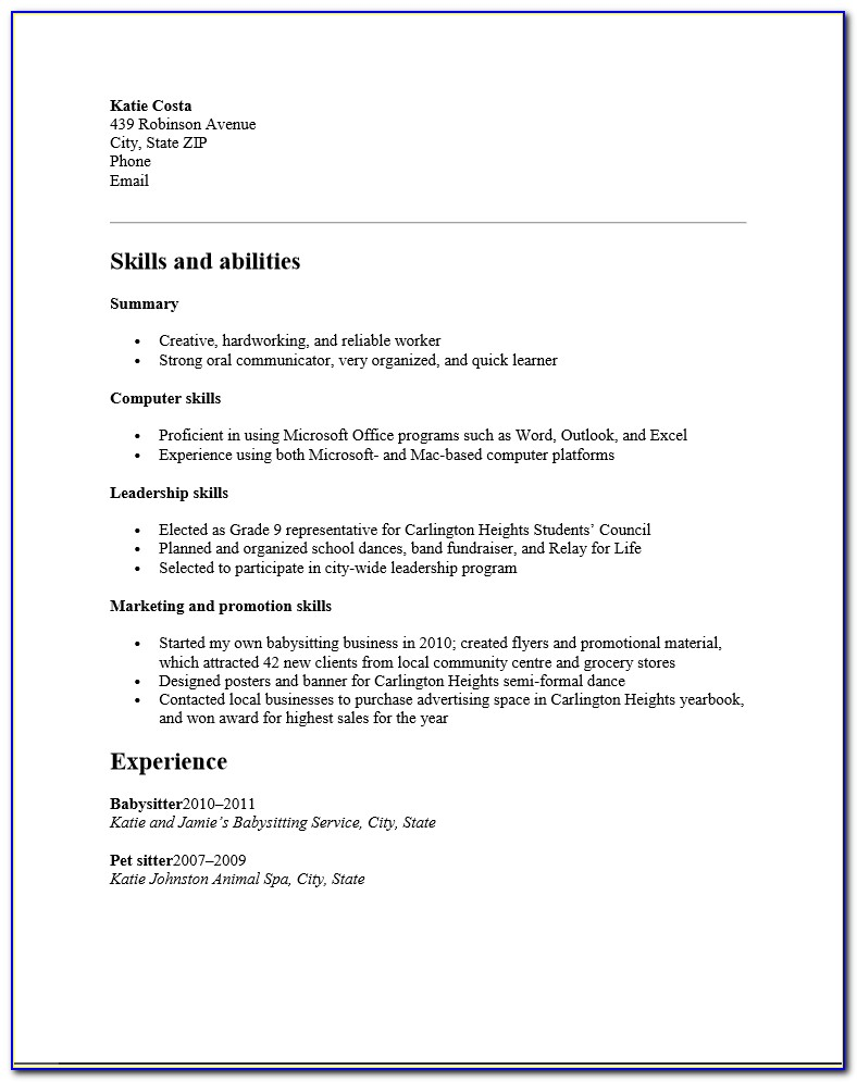 Free High School Student Resume Template | Examples | Ms Word Inside Resume Templates High School Students No Experience