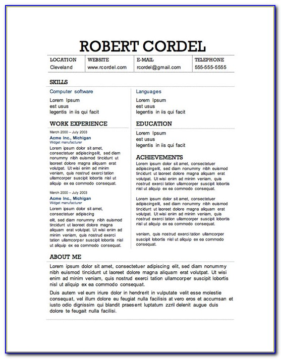 Resume Templates Online Word