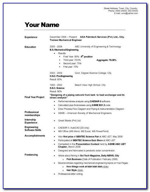 Resume Writing Format In English