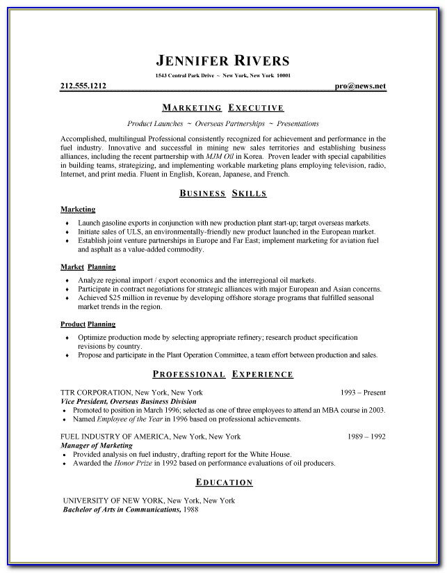 Resume Writing Style Guidelines