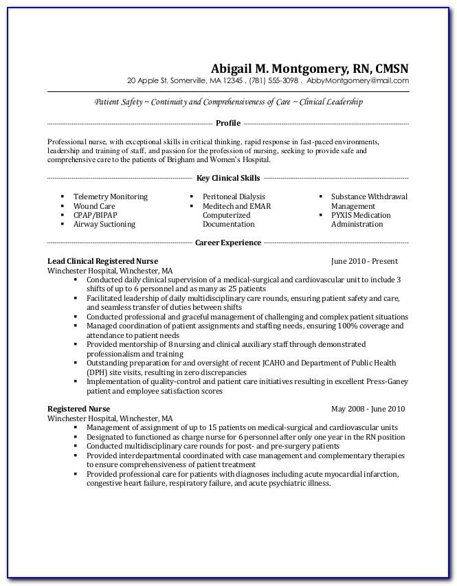 Resumes For Registered Nurses Medical Surgical