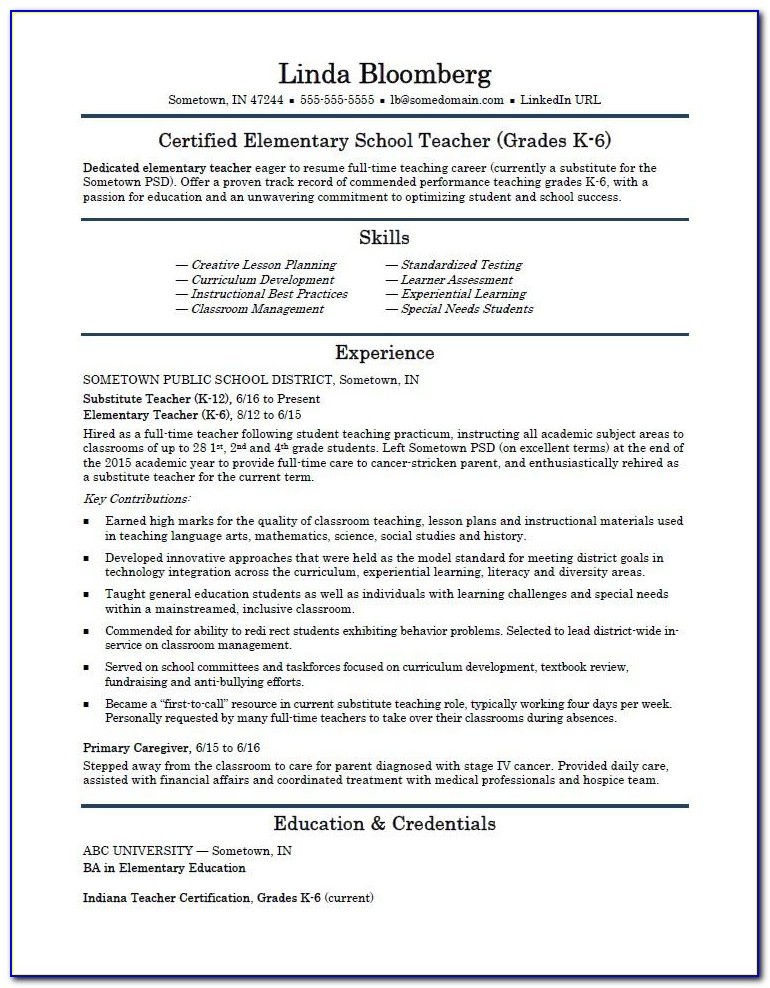 Resumes For Teachers Templates