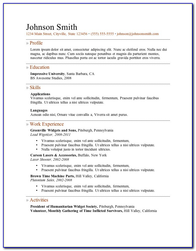 Resumes Templates Word File