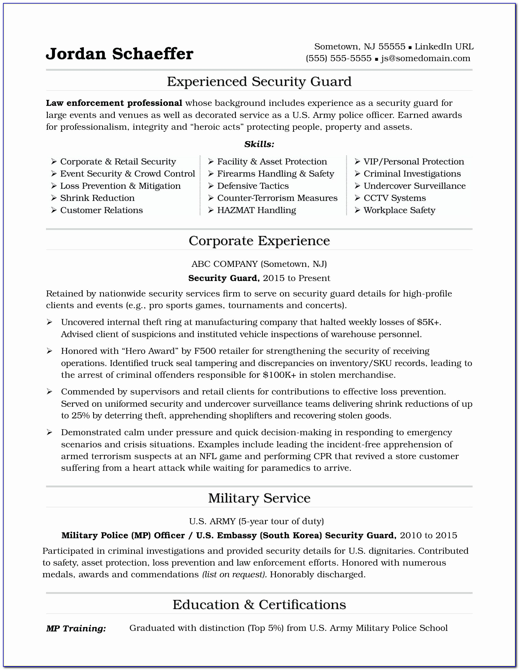Or Free Military Resume Templates