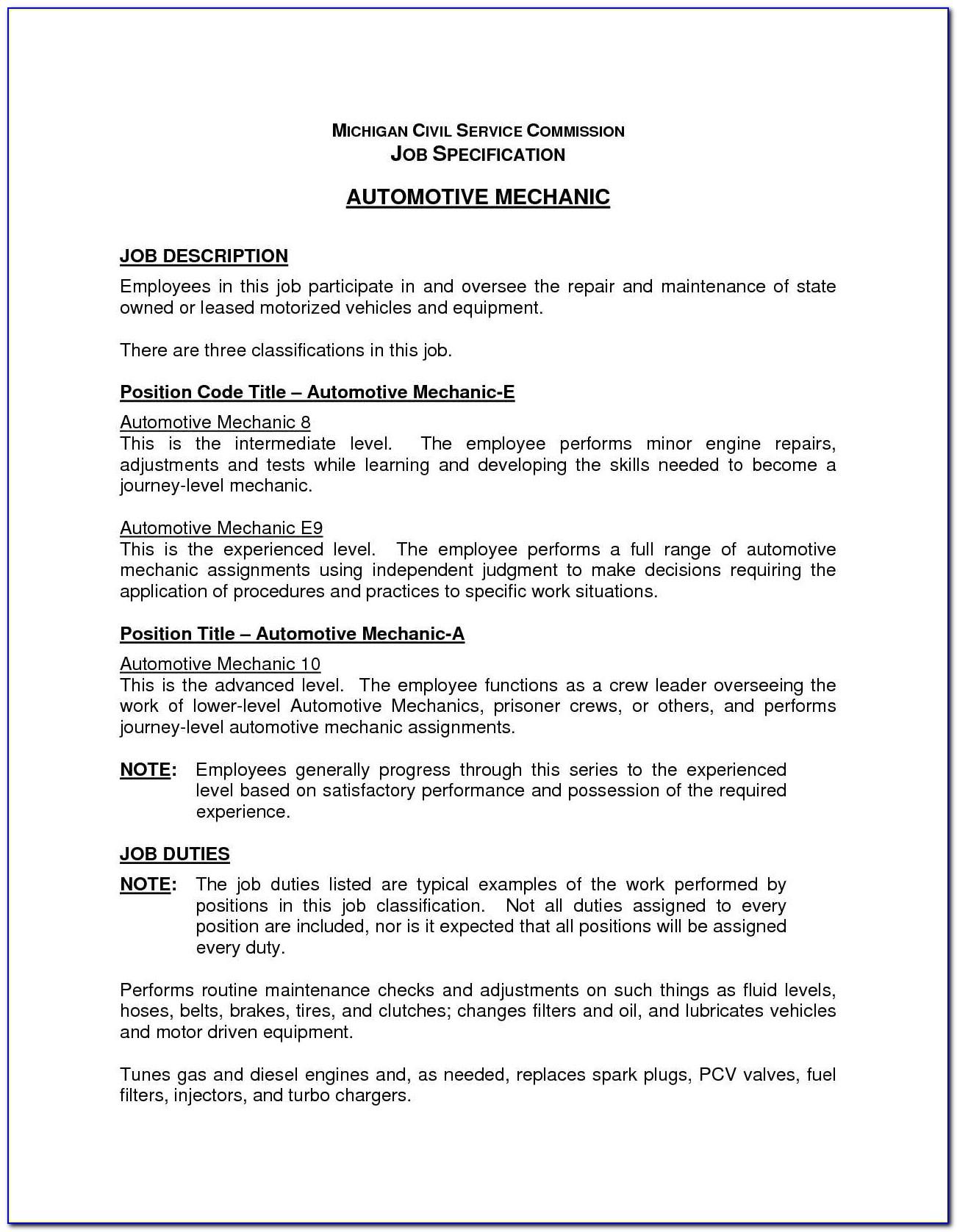 Mechanic Job Description Resume Resume Ideas Rigzone Jobs Post Resume