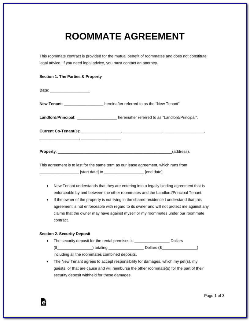 Room Rental Agreement Simple Form