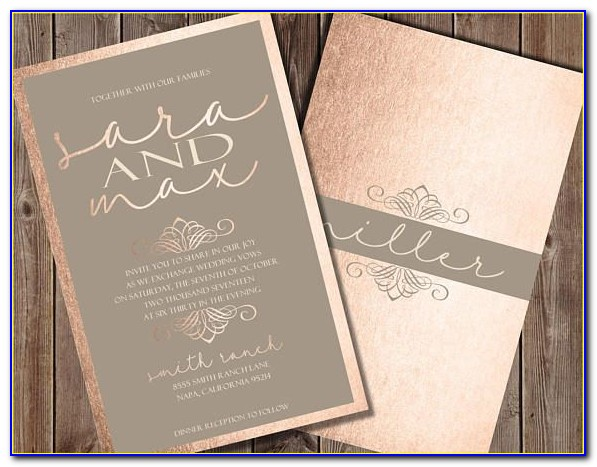 Rose Gold Wedding Invitation Template Free