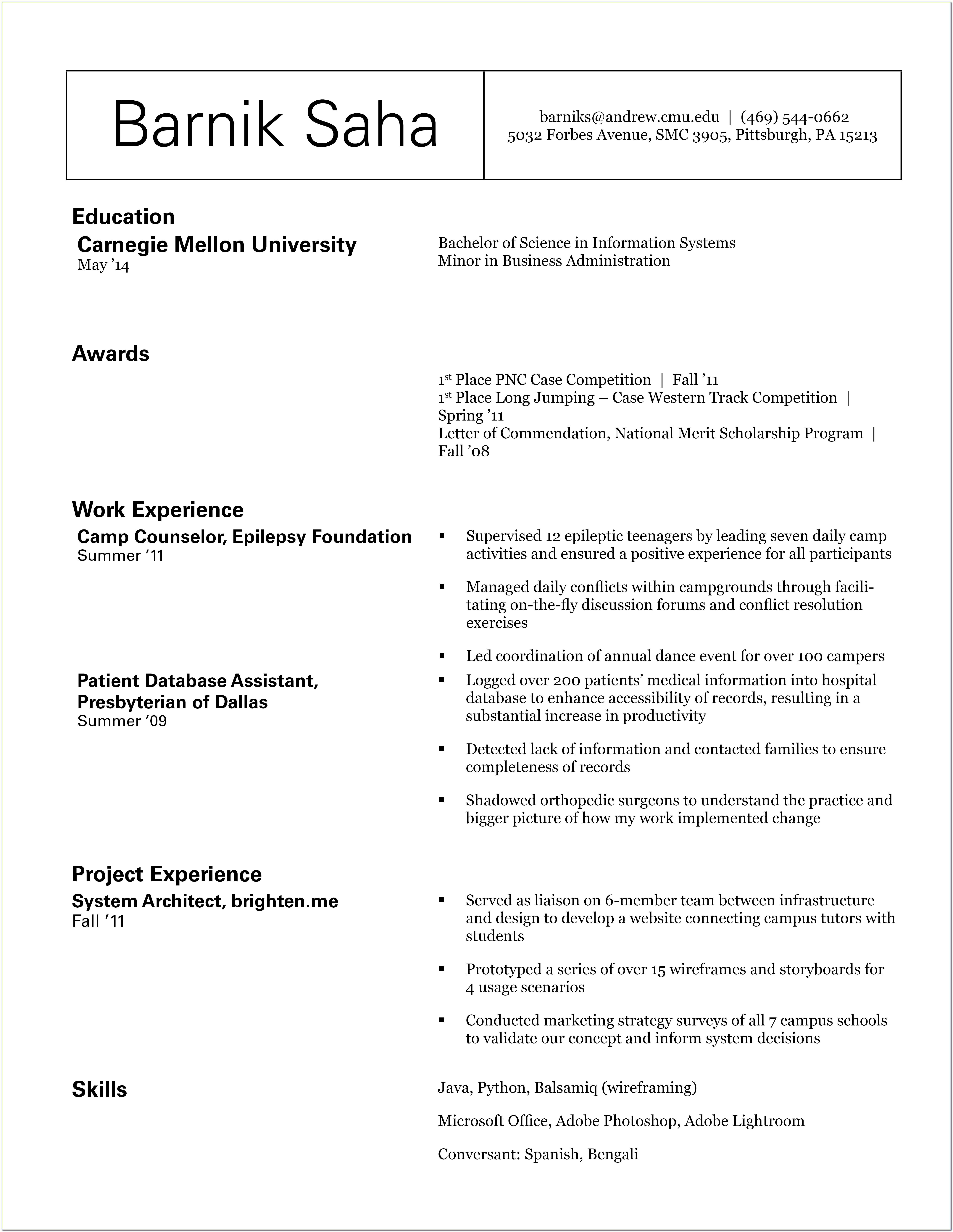 Rough Draft Resume Example