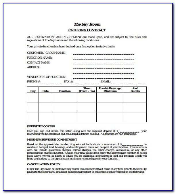 Sample Catering Contracts Templates