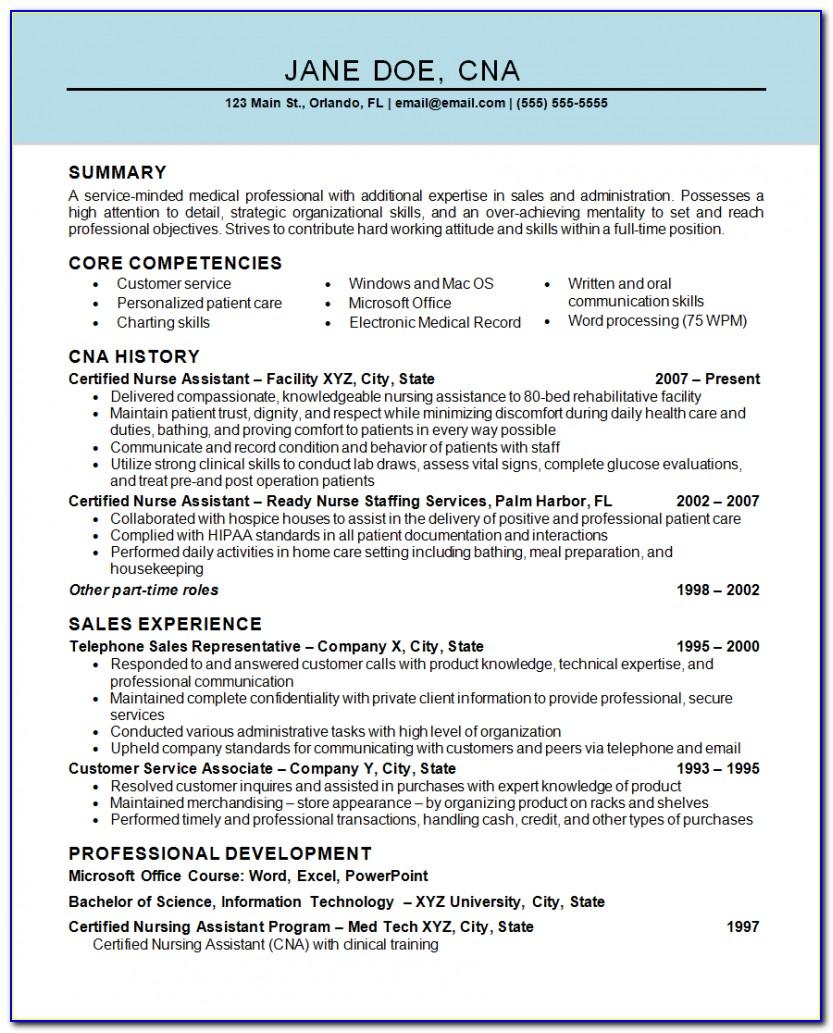 Sample Certified Nursing Assistant Resume Objective