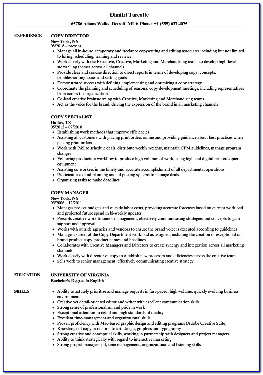 Sample Copy Of A Good Resume