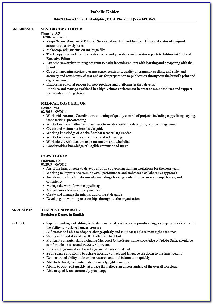 Sample Copy Of Resume Download