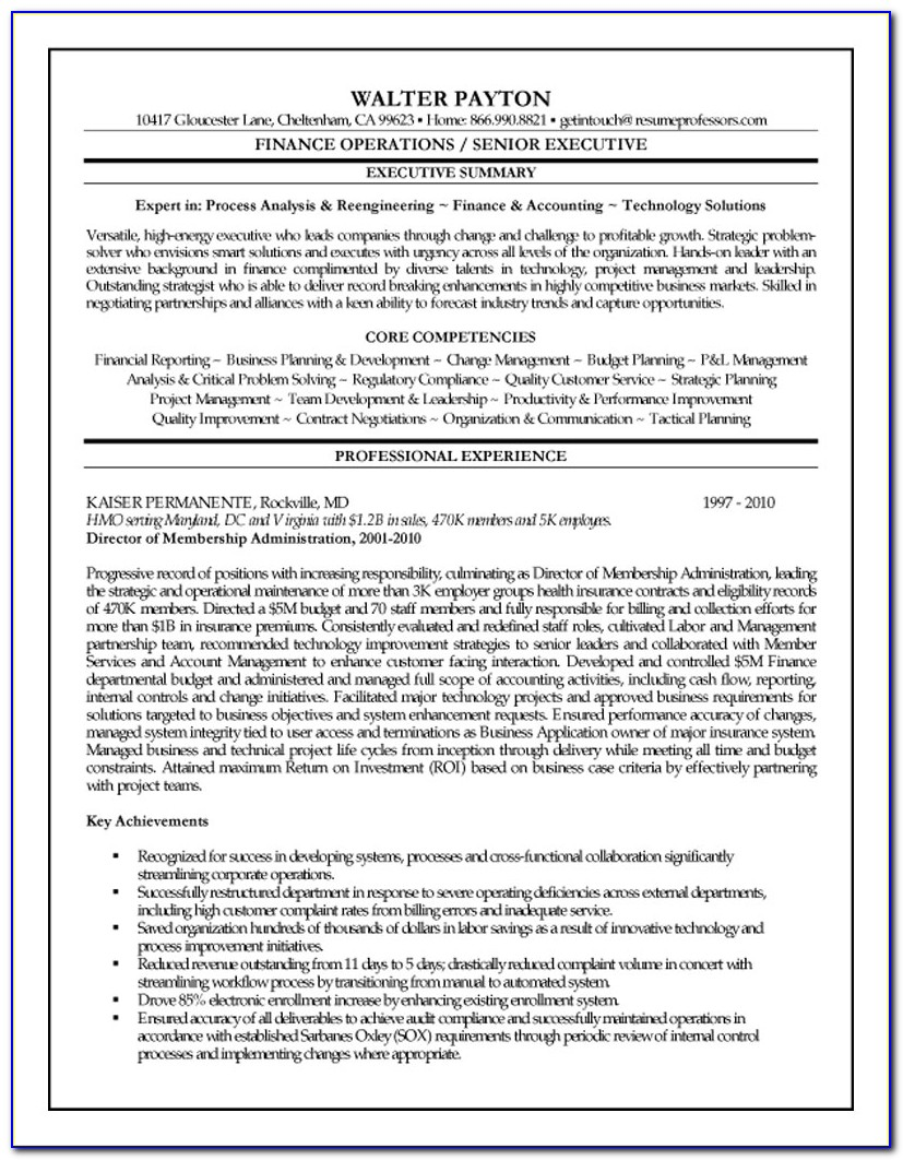 Sample Executive Cv Format