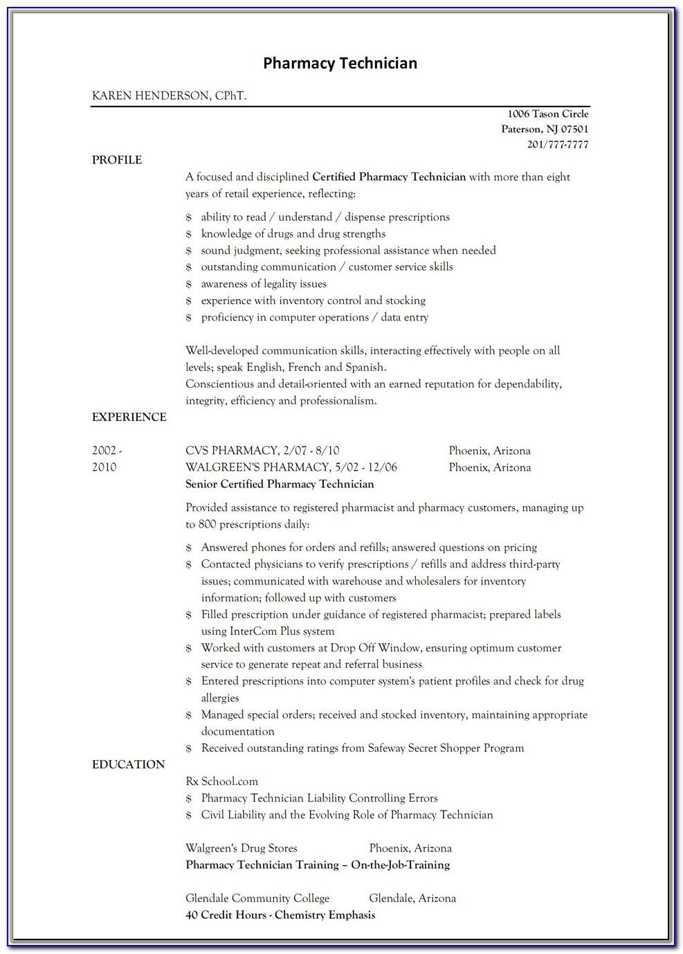 Sample Hospital Pharmacy Technician Resume