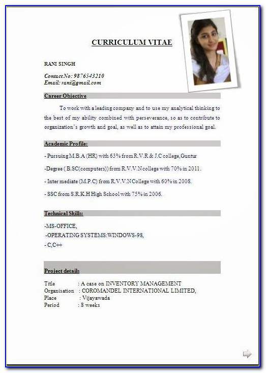 Sample Job Resume Format