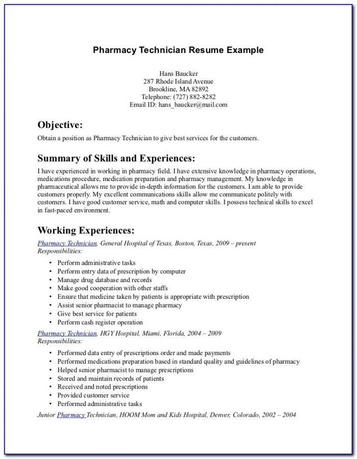 Sample Objective For Pharmacy Technician Resume