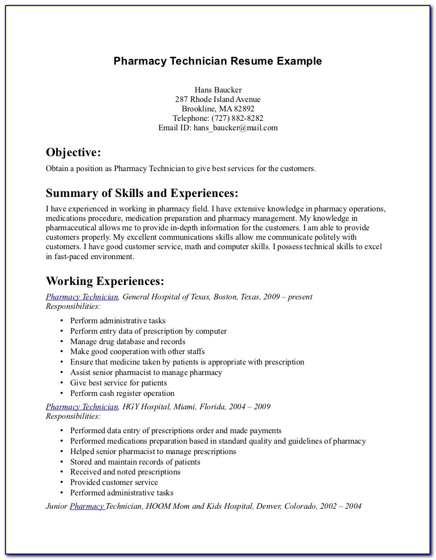 Sample Objective For Pharmacy Technician Resume