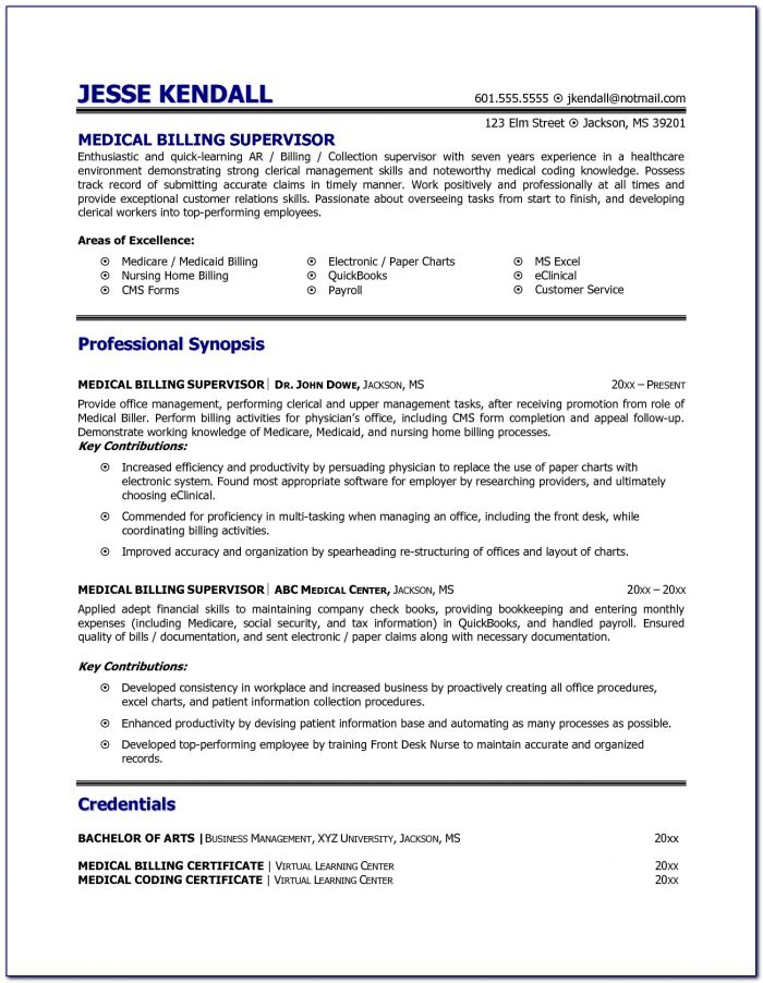 Sample Objectives For Medical Billing And Coding Resume