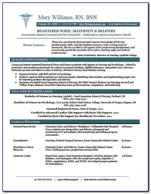 Sample Of Registered Nurse Resume