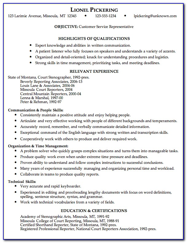 Sample Of Resume For Customer Service Officer