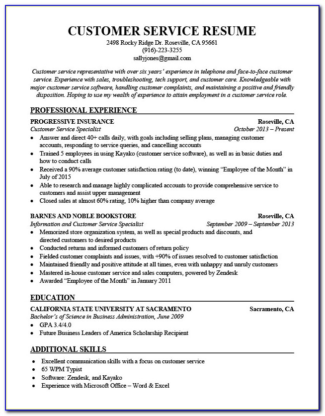 Sample Of Resume For Customer Service Position
