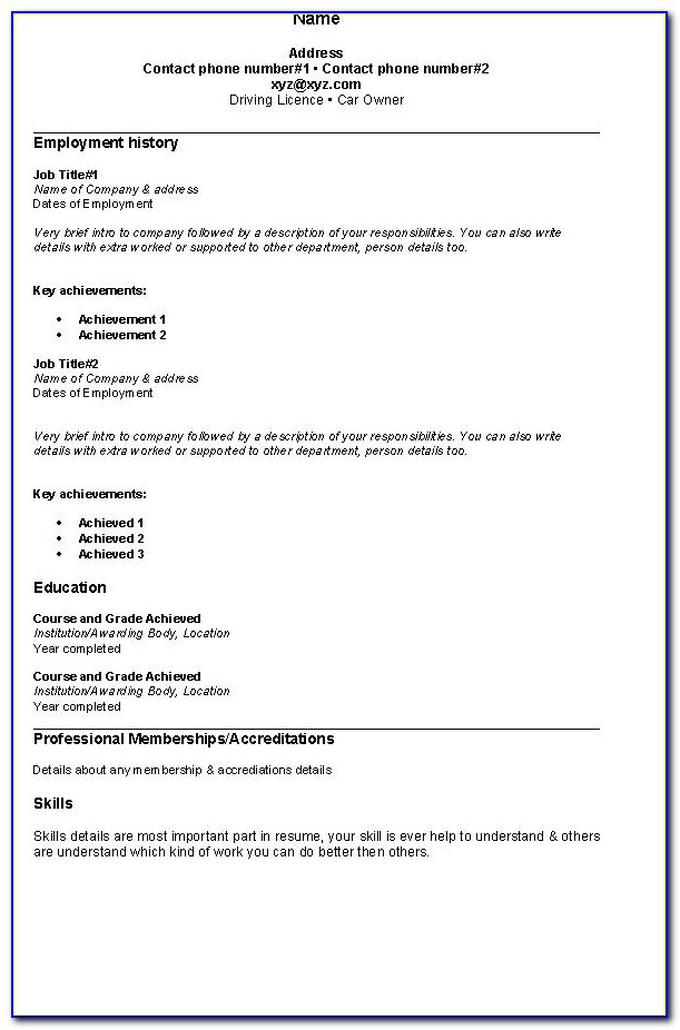 Sample Of Simple Resume Format