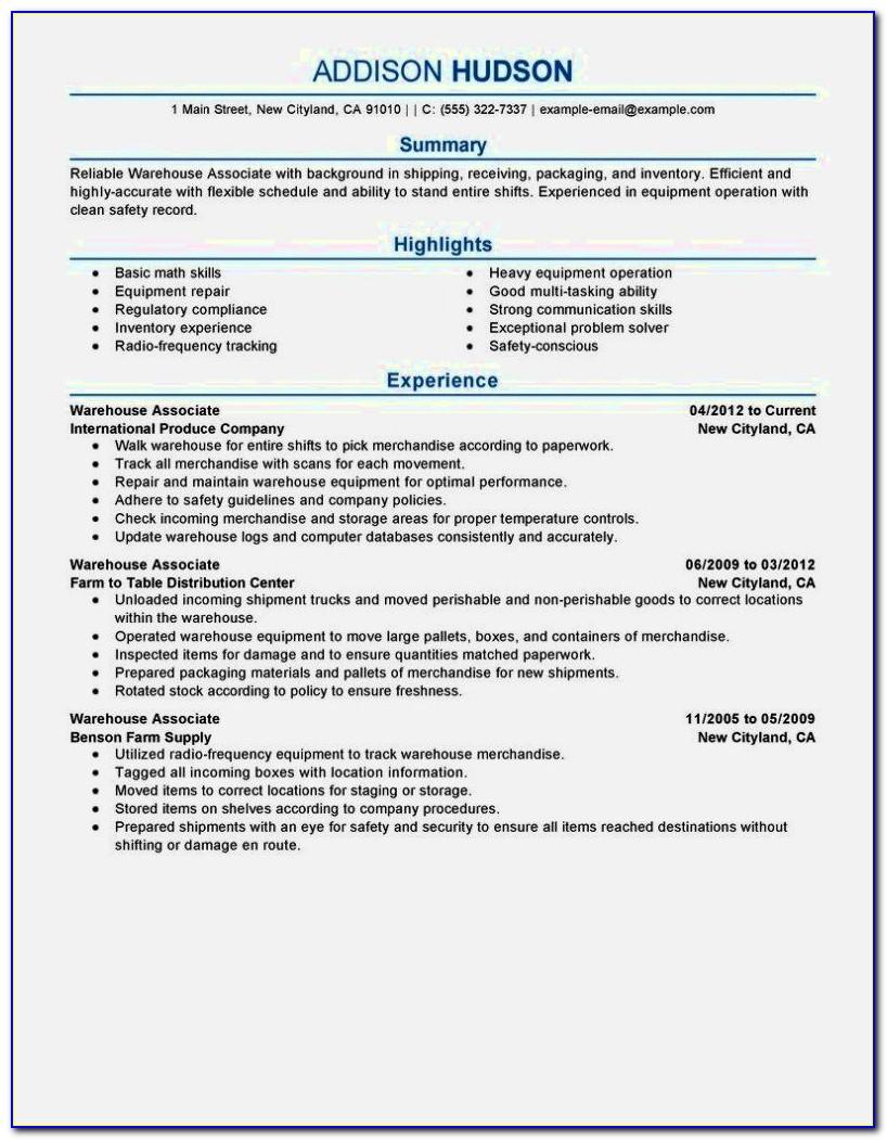 Entry Level Warehouse Worker Resume Samples