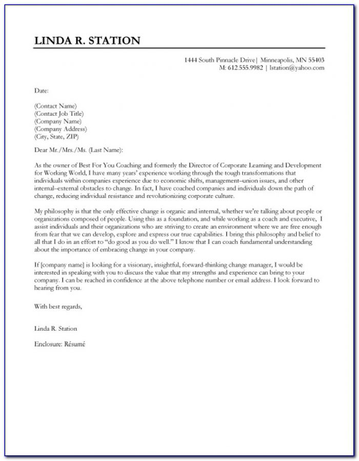 Sample Resume And Cover Letter