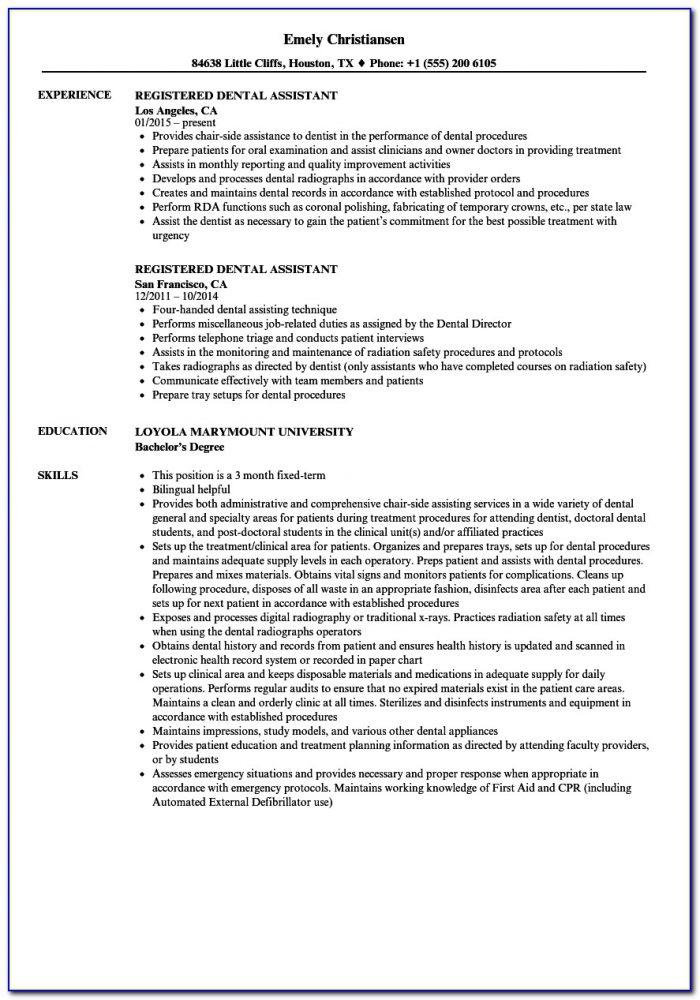 Sample Resume Dental Assistant Skills Checklist