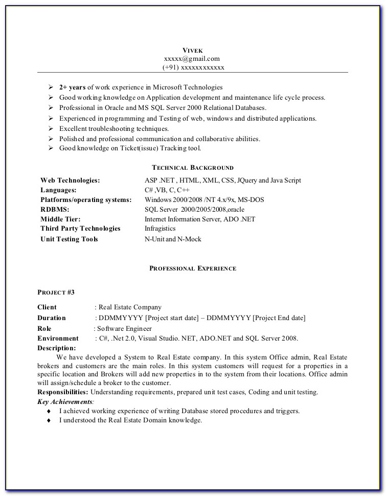 Sample Resume For .net Developer With 4 Year Experience