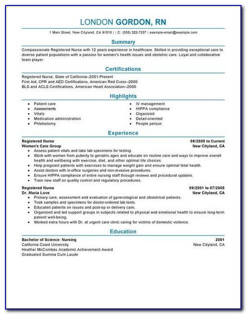 Sample Resume For A New Registered Nurse