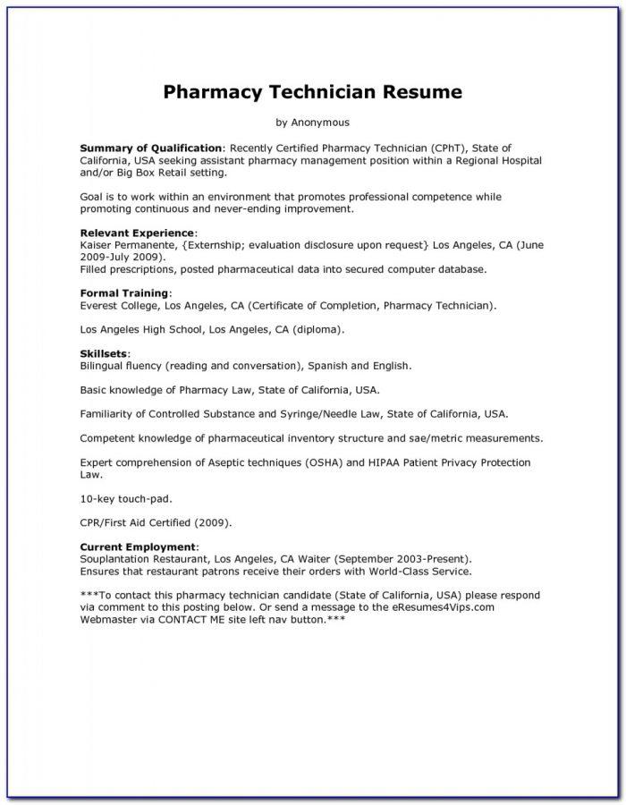 Sample Resume For A Pharmacy Technician