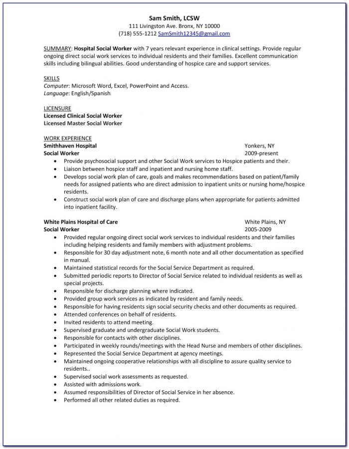 Sample Resume For A Social Worker