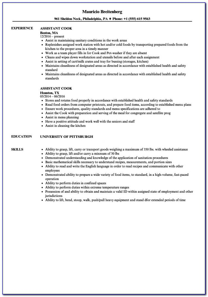 Sample Resume For Chef Manager