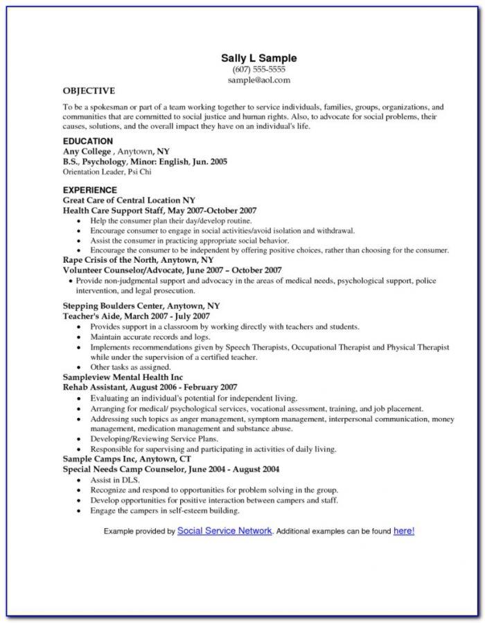 Sample Resume For Clinical Social Worker