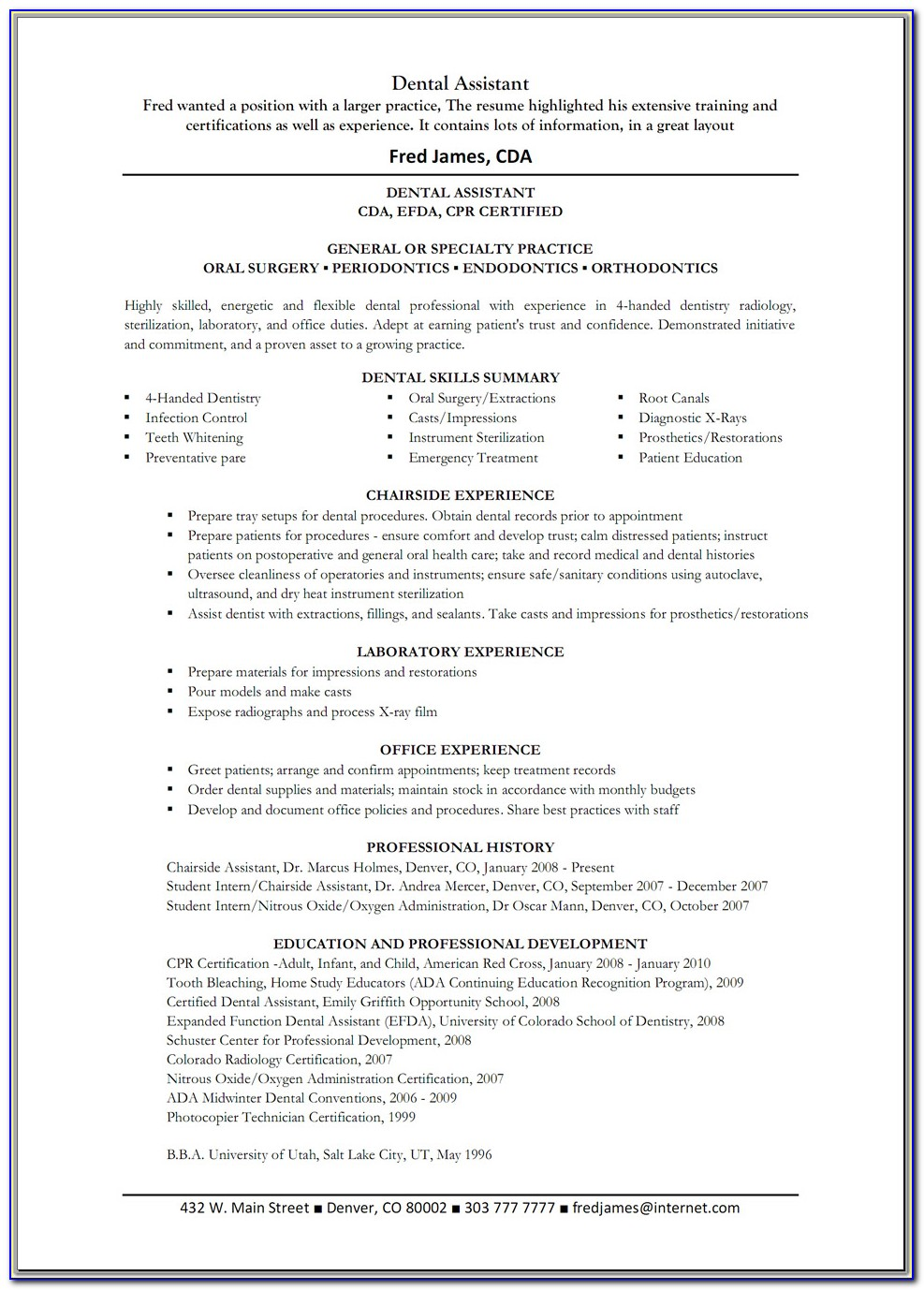 Sample Resume For Dental Assistant Without Experience