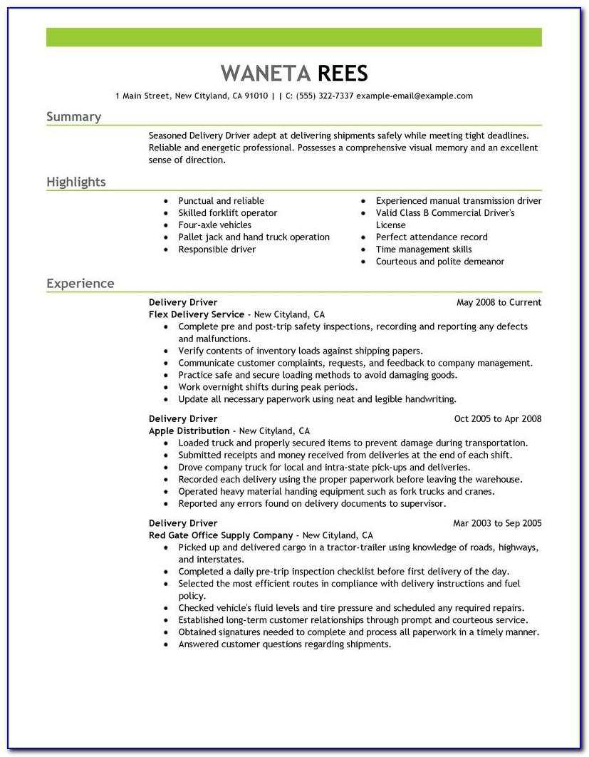 Sample Resume For Driving Job