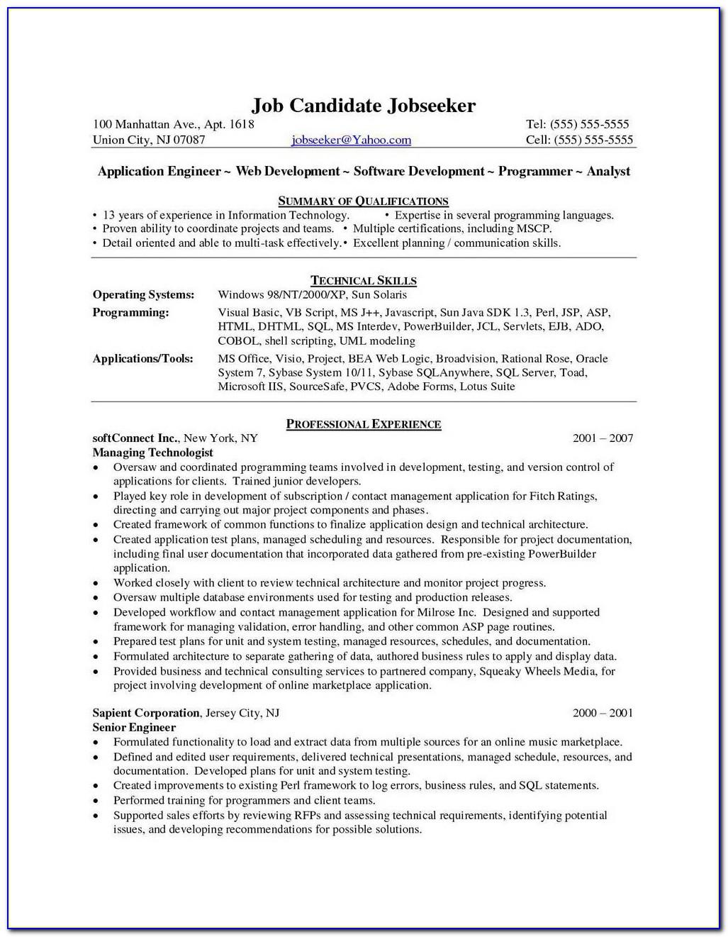 Sample Resume For Experienced .net Developer