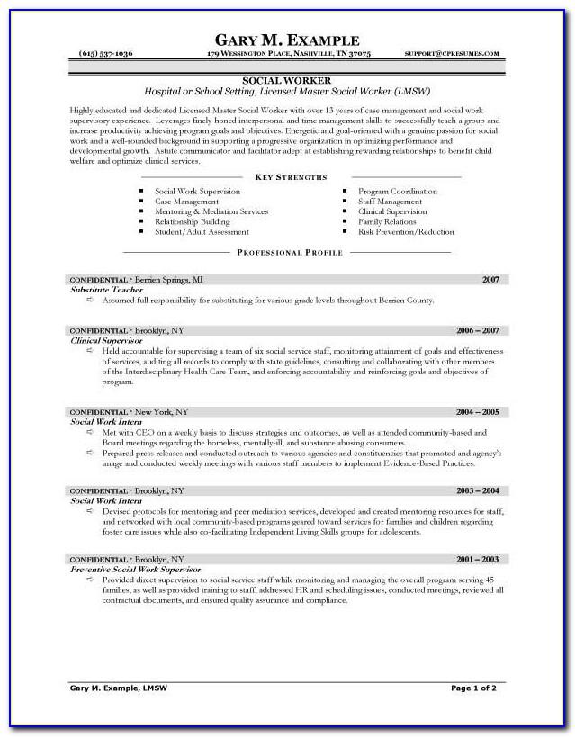 Sample Resume For Geriatric Social Worker