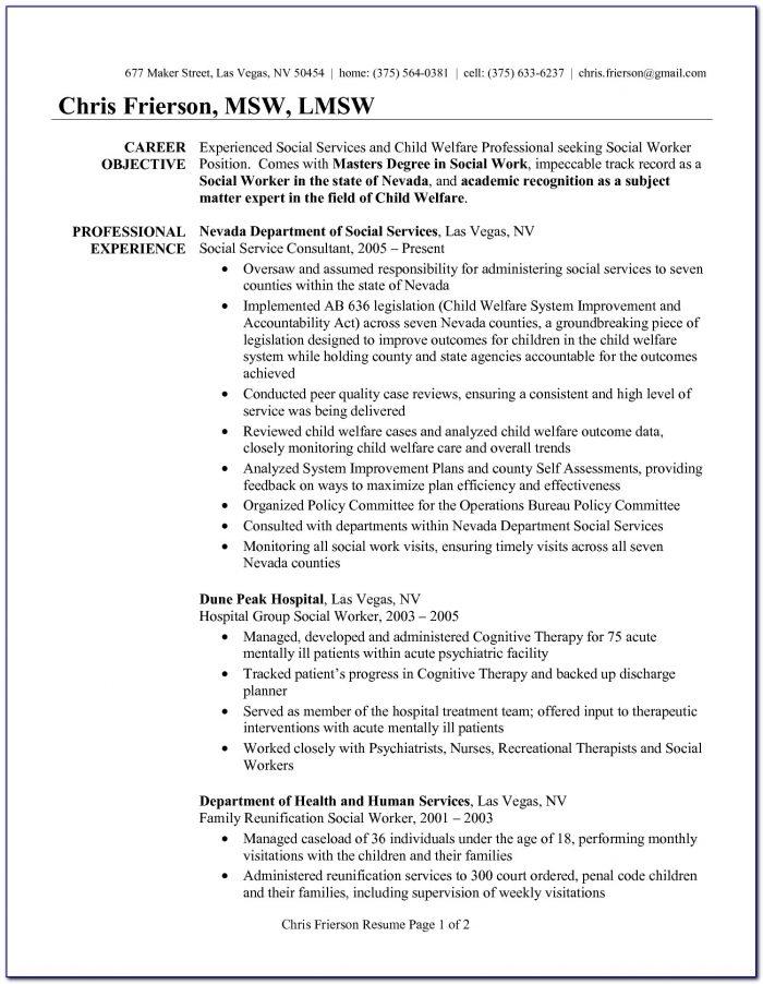 Sample Resume For Hospital Social Worker