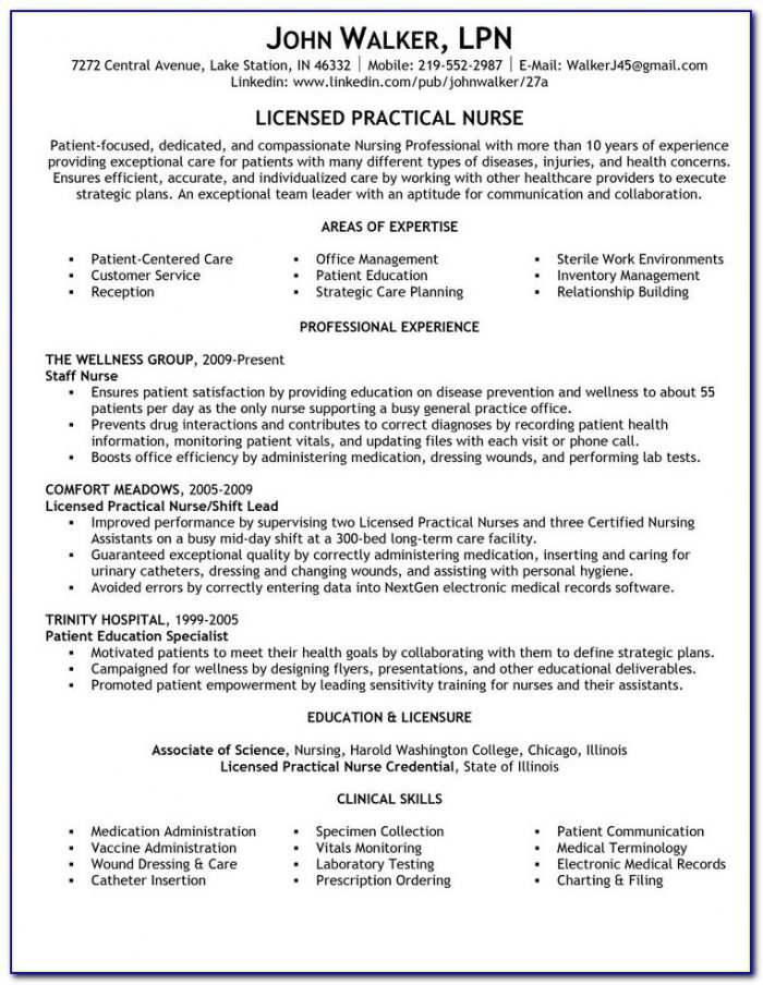 Sample Resume For Lpn