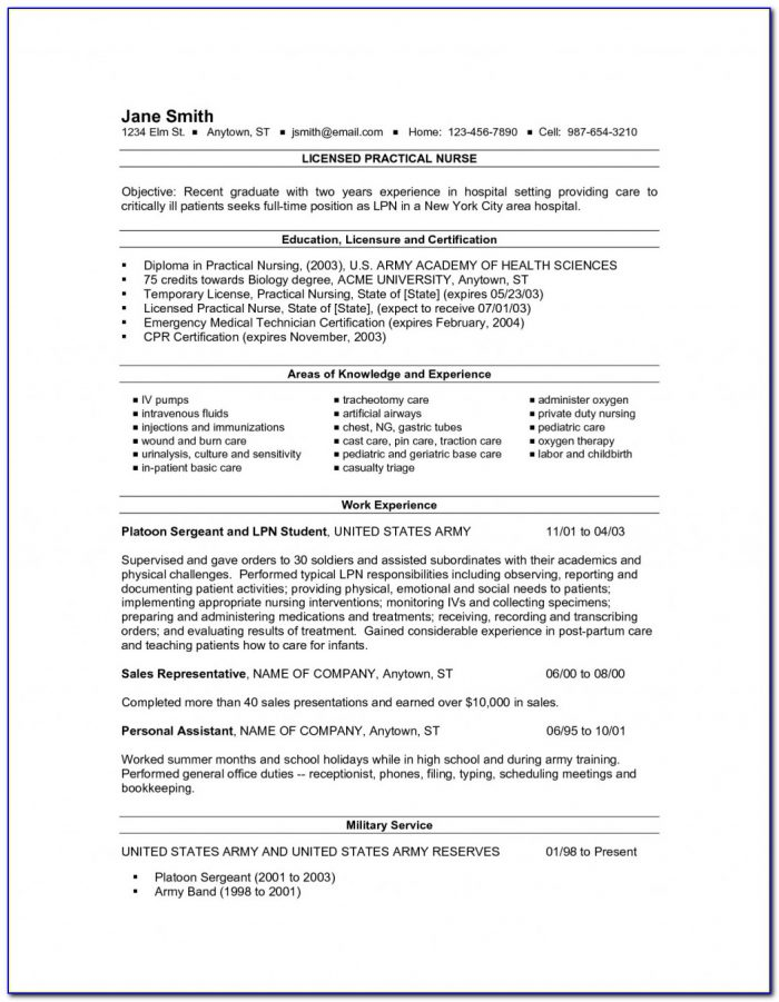 Sample Resume For Lpn Student
