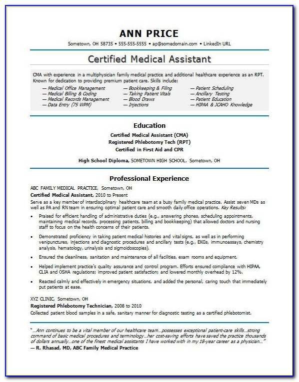 Sample Resume For Medical Administrative Assistant
