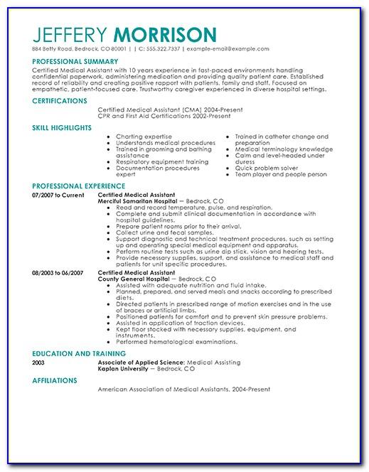 Sample Resume For Medical Assistant Externship