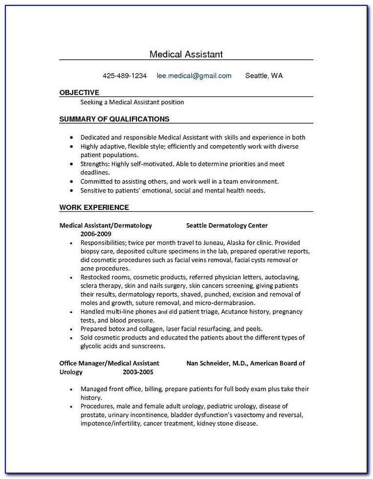 Sample Resume For Medical Assistant Receptionist