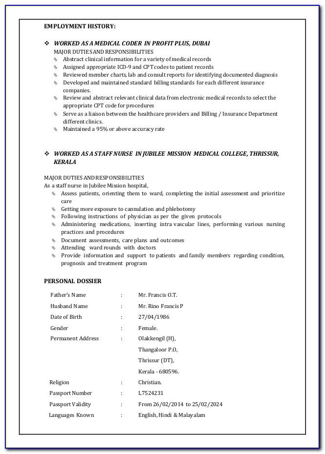Sample Resume For Medical Coding