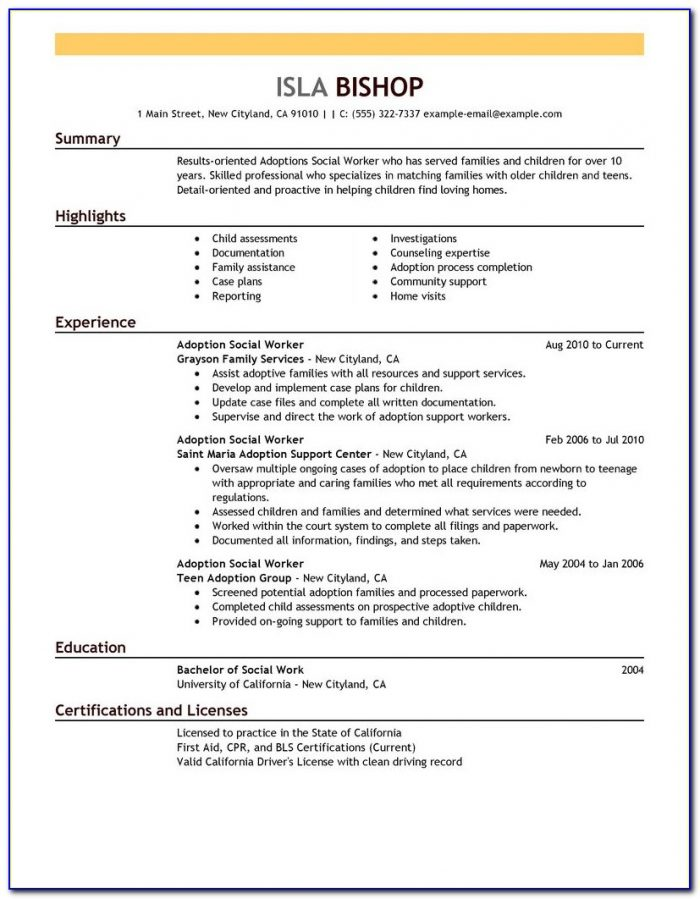 Sample Resume For Medical Social Worker