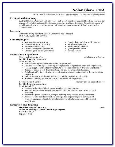 Sample Resume For Nursing Assistant Job