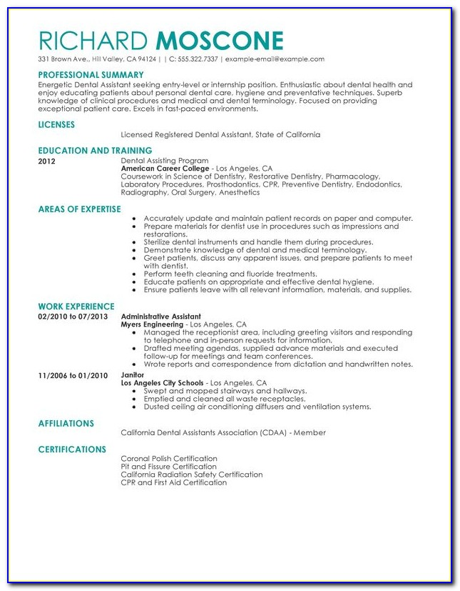 Sample Resume For Pediatric Dental Assistant