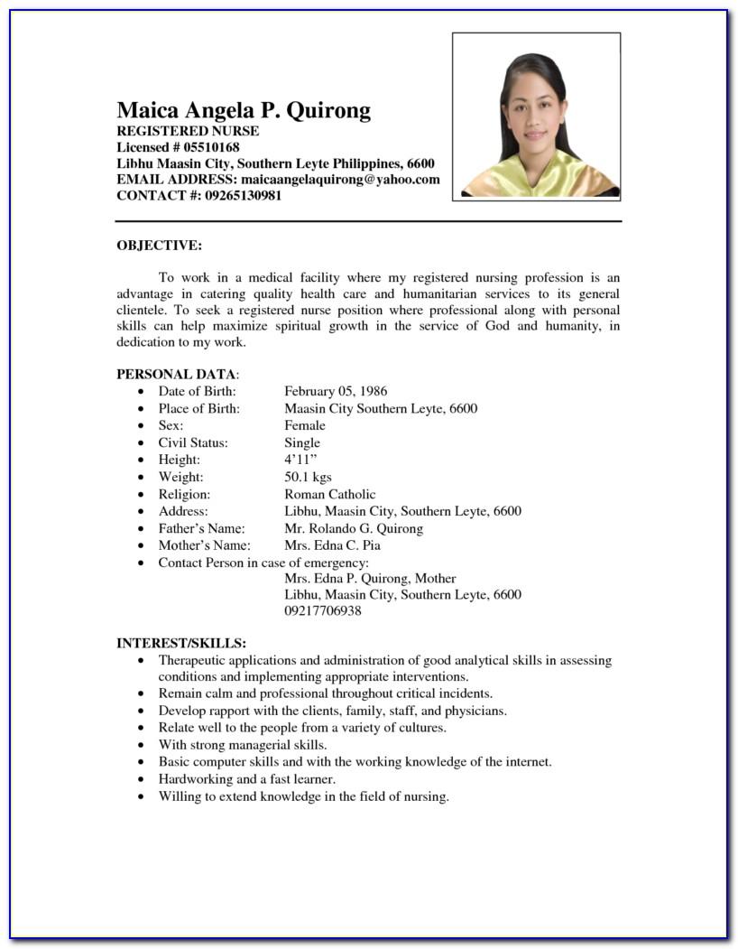 Sample Resume For Rn Skills
